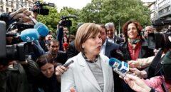 La presidenta de Navarra en funciones, Uxue Barkos, accede a la reunión con María Chivite.