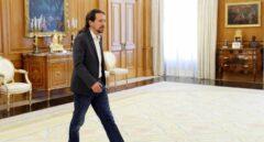 El líder de Podemos durante su ronda de contactos con el Rey.