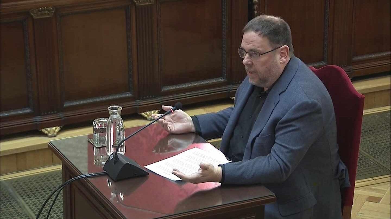 Oriol Junqueras, ejerciendo este miércoles su derecho a la última palabra en el juicio del 'procés'.