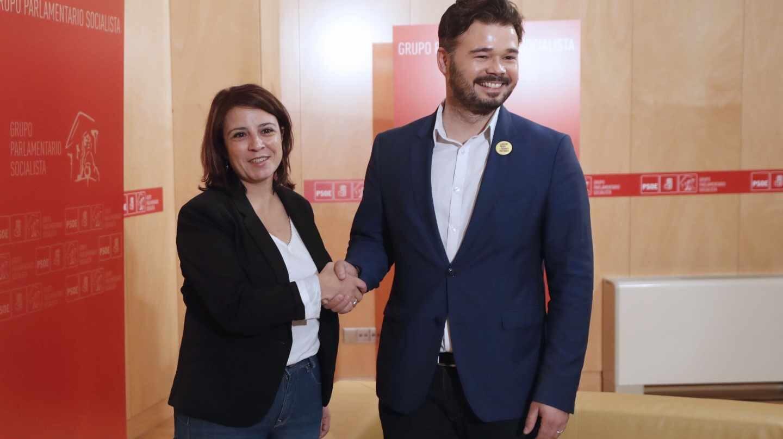 Adriana Lastra y Gabriel Rufián, en el Congreso.
