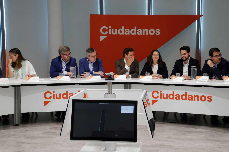 El líder de Ciudadanos, Albert Rivera y la portavoz nacional, Inés Arrimadas, durante la reunión de la Ejecutiva nacional.