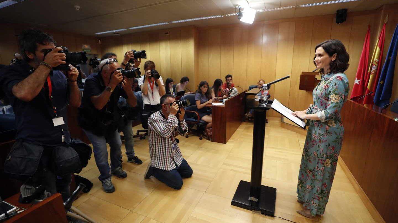 Isabel Diaz Ayuso durante su comparecencia de este miércoles