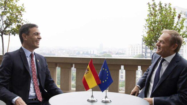 El presidente del Gobierno español en funciones, Pedro Sánchez, durante su reunión con el presidente del Consejo Europeo, Donald Tusk