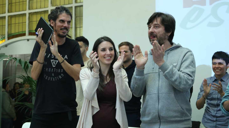 Alberto Rodríguez 'rastas', Irene Montero y Rafa Mayoral