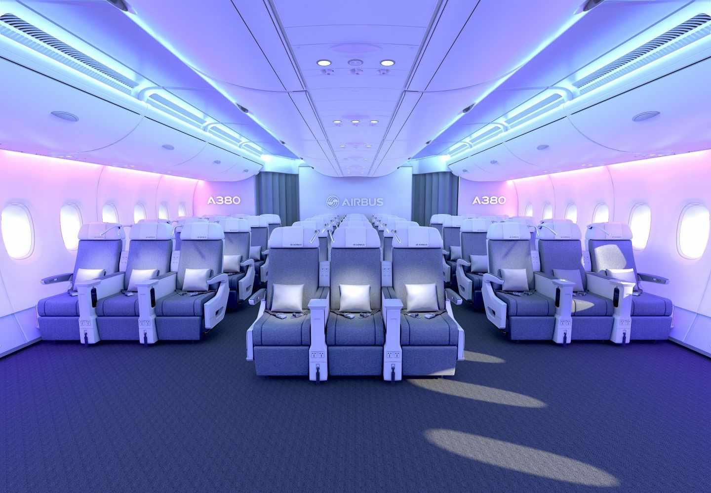 Cabina de pasajeros del Airbus A380. Airbus.