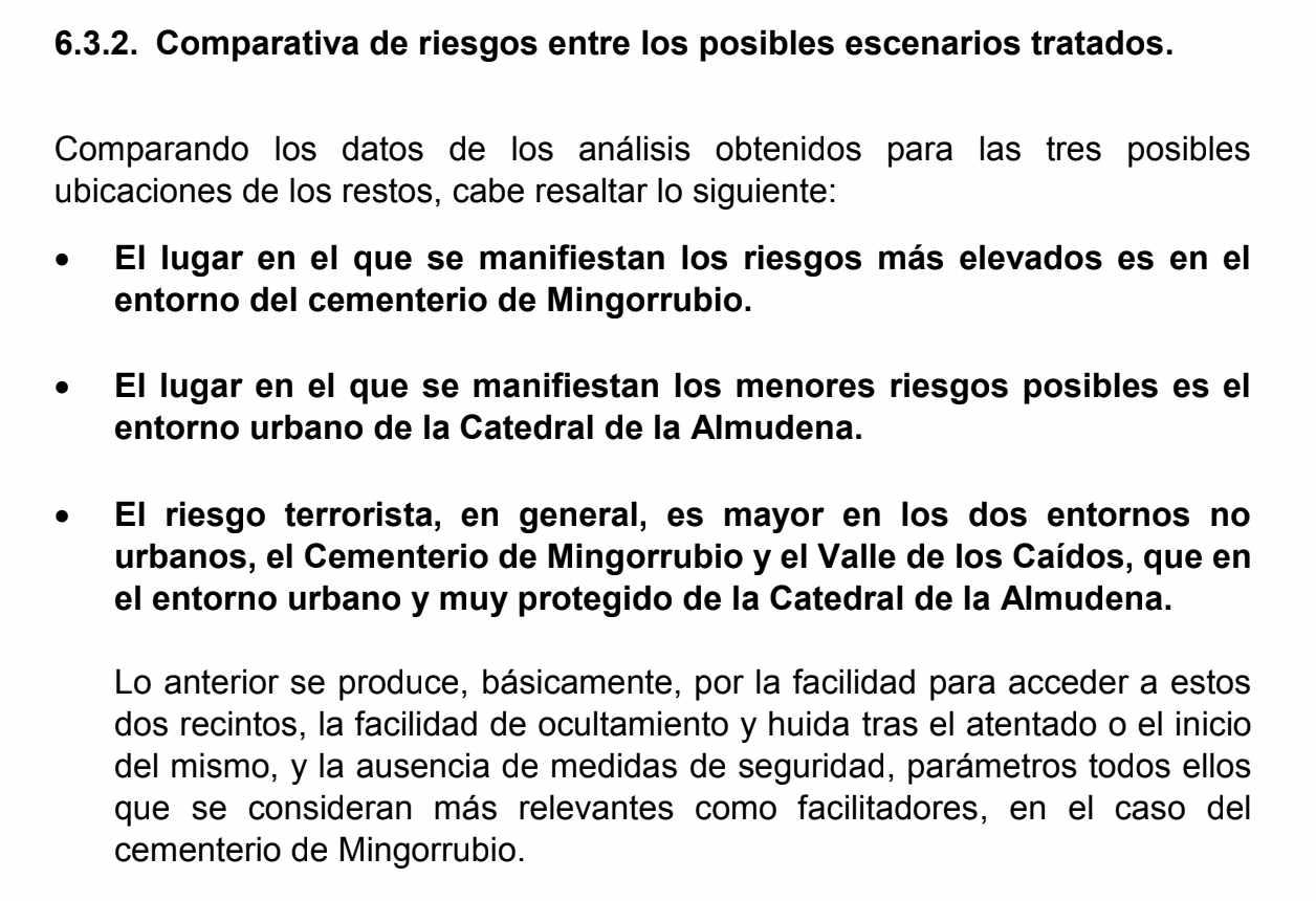 Conclusiones que se detallan en el informe pericial encargado por la familia Franco.