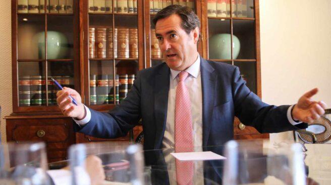 Antonio Garamendi en la sede de la CEOE en Madrid