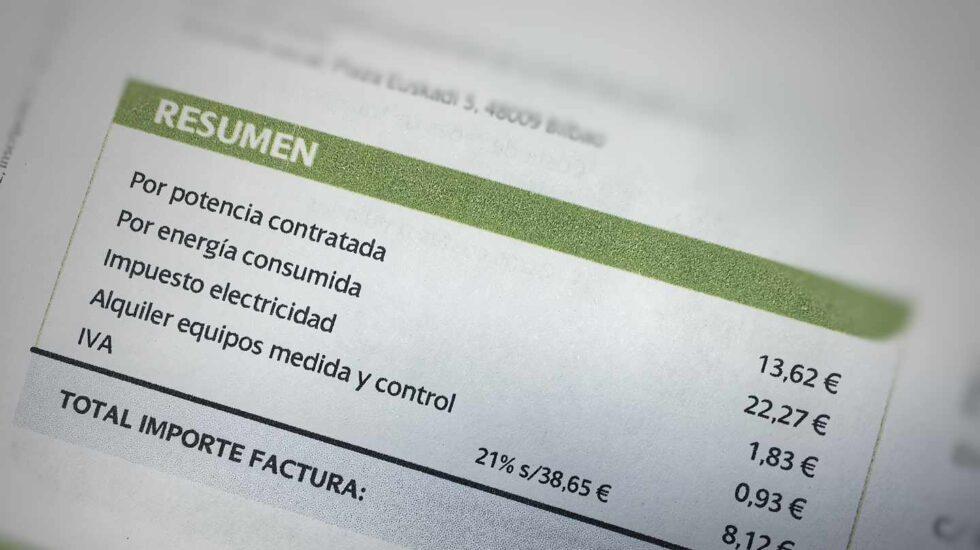 Una factura de electricidad