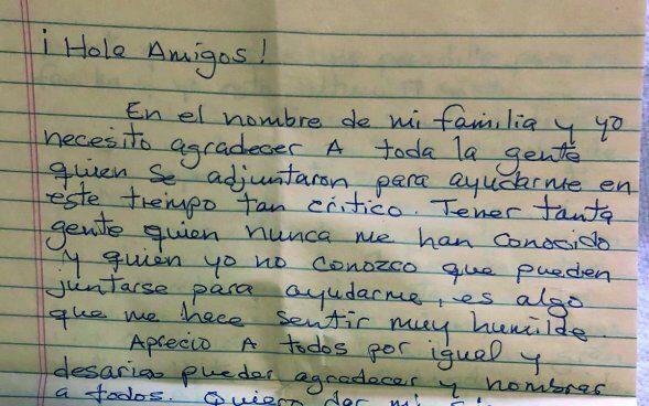 Carta manuscrita por Pablo Ibar enviada a su familia desde prisión.