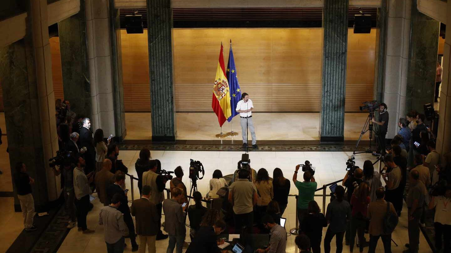 Pablo Iglesias, tras reunirse con Pedro Sánchez.