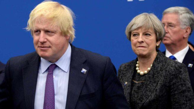 Boris Johnson, cuando era ministro de Exteriores en el gabinete de May, en una cumbre de la OTAN.