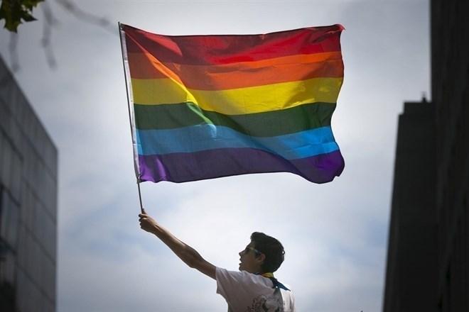 Joven portando la bandera del Orgullo LGTBI.