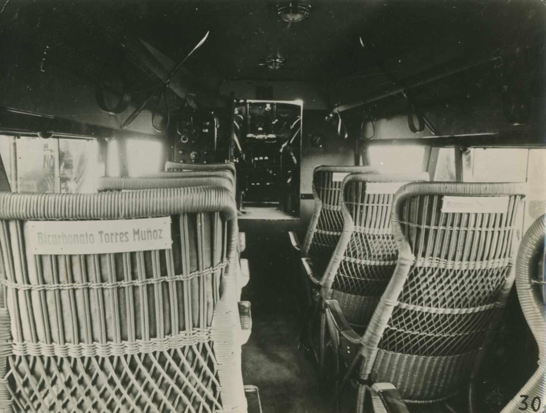 Cabina de pasajeros de un Rohrbach Roland de Iberia. Periodo de utilización en España: 1927-1929.