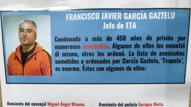 Arrancan carteles en Galdakao con el historial criminal de los presos de ETA del pueblo