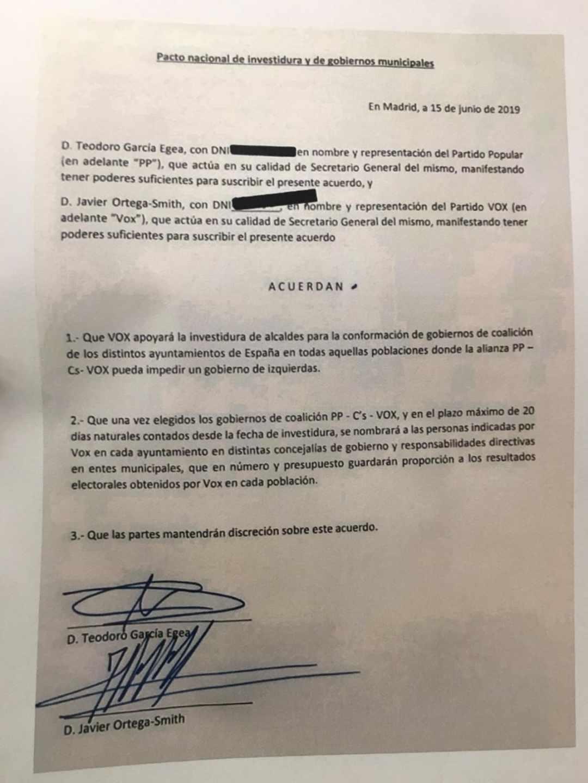 Vox ha hecho público el acuerdo firmado con el Partido Popular.