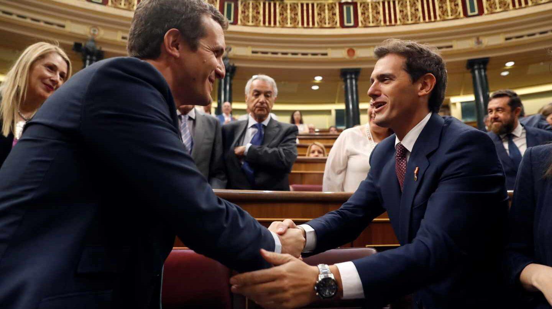 Albert Rivera y Pablo Casado, en el Congreso de los Diputados.