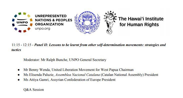 Programa del evento en el que participó la presidenta de la ANC, Elisenda Paluzie.
