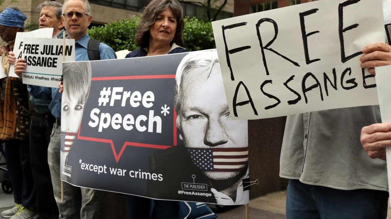 Protestas contra el encarcelamiento de Julian Assange.