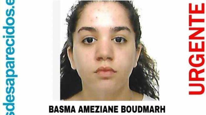 Cartel con la información de la desaparecida Basma