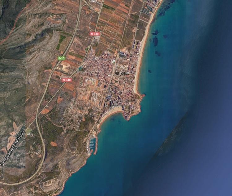La localidad de Oropesa vista desde el cielo.