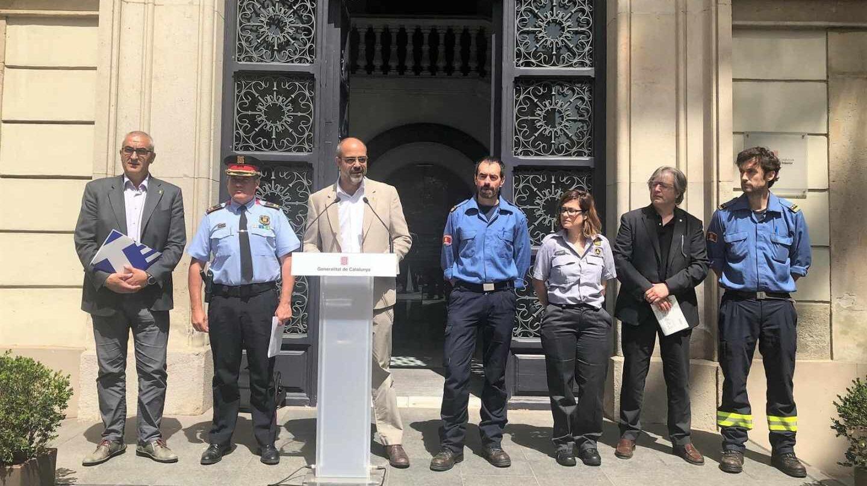 Conseller Miquel Buch, Sergi Pla (Mossos d'Esquadra), Manuel Pardo (Bombers de la Generalitat)