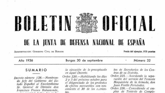 Boletín Oficial de la Junta de Defensa Nacional de España en el que se nombró a Franco 'Jefe del Gobierno'.