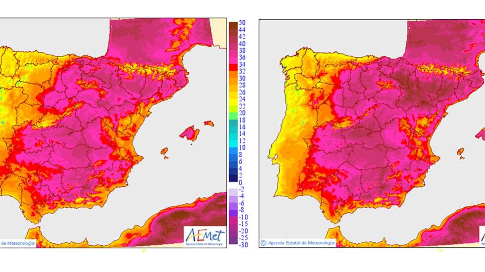 Mapa de calor de la península con las temperaturas del miércoles 26 y el jueves 27.