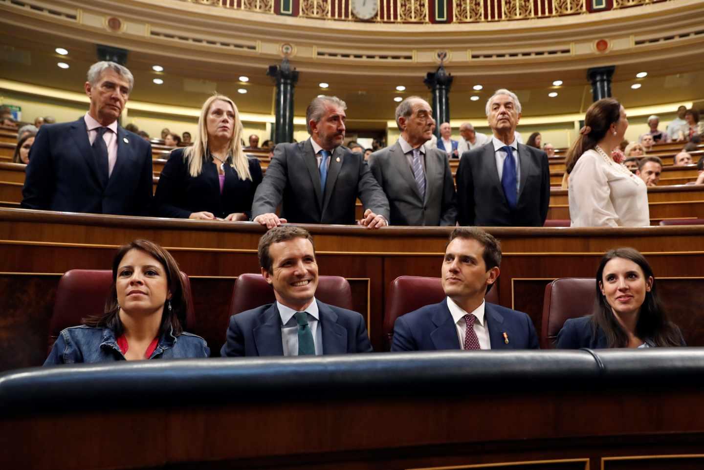 Adriana Lastra, Pablo Casado, Albert Rivera e Irene Montero, este jueves en el Congreso de los Diputados.