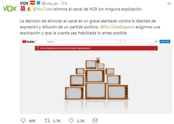 Vox ha denunciado en Twitter el cierre de su canal de Youtube.