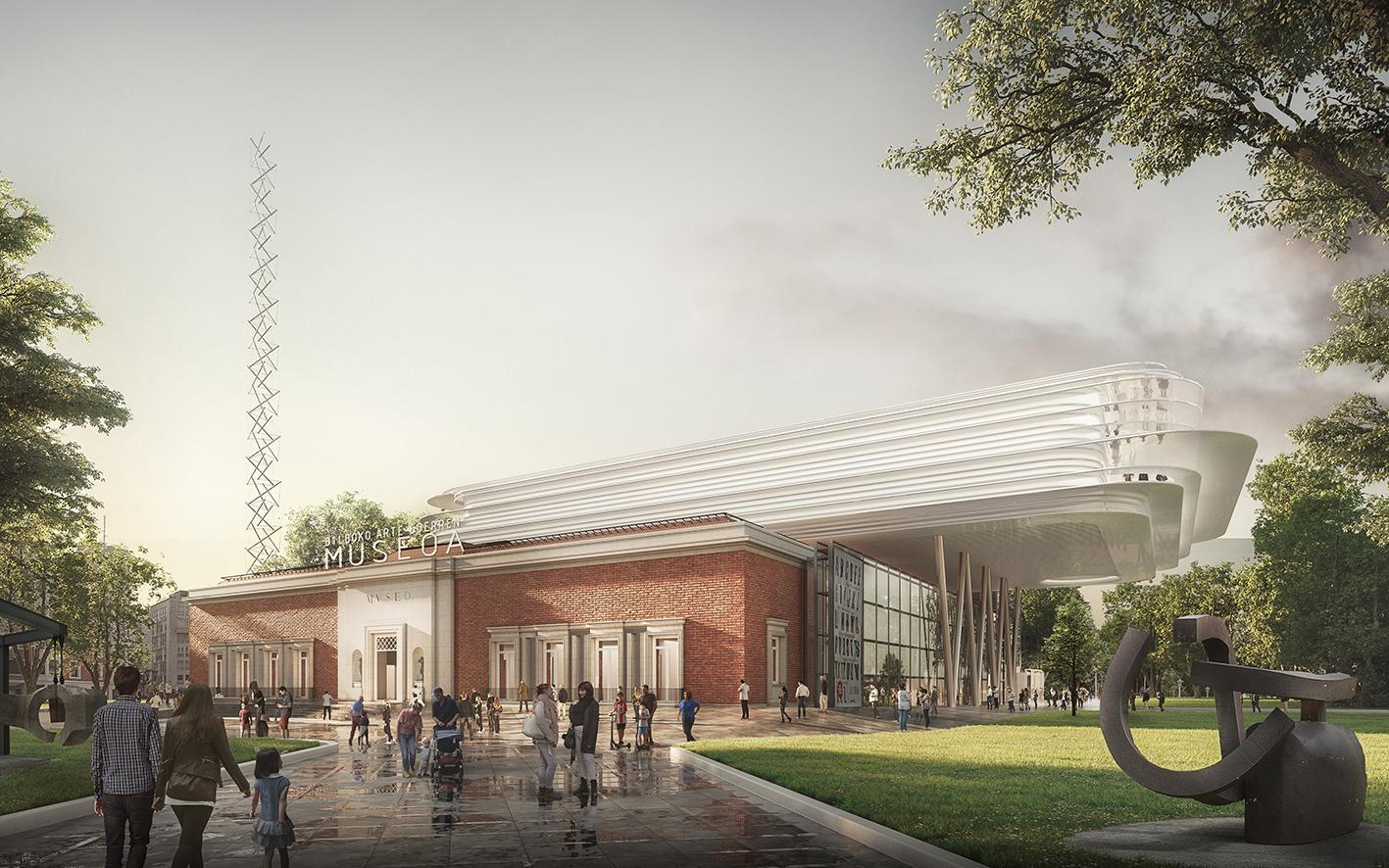 Recreación del proyecto de ampliación del Museo de Bellas Artes diseñado por Norman Foster.