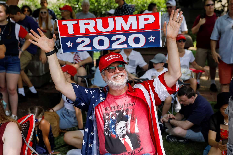 Un simpatizante de Trump durante las celebraciones.