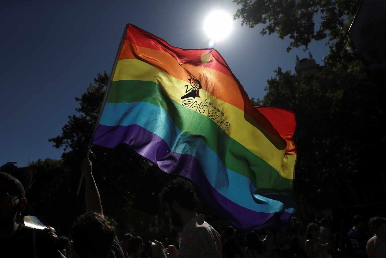 Un manifestante ondea una bandera del arcoíris.