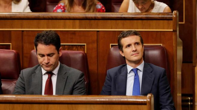 Sesión de investidura: Teodoro García Egea y Pablo Casado.