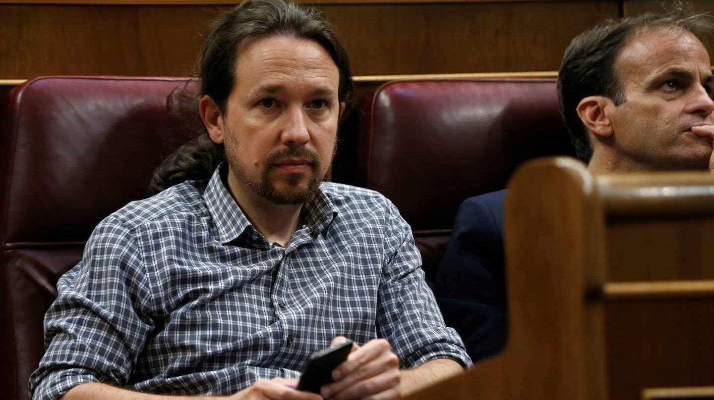 Sesión de investidura: Pablo Iglesias, en el Congreso.