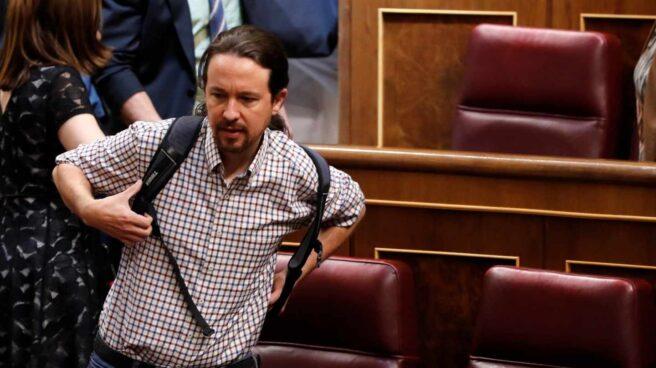 Pablo Iglesias en el Congreso durante la última sesión de investidura.