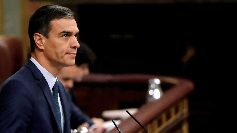 Pedro Sánchez, en su fallido debate de investidura