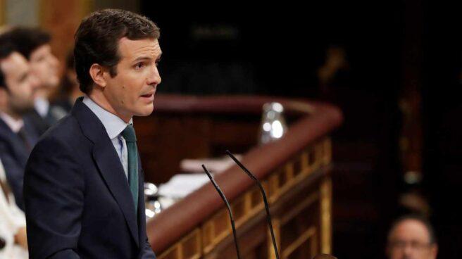 Pablo Casado durante su intervención en el debate de investidura