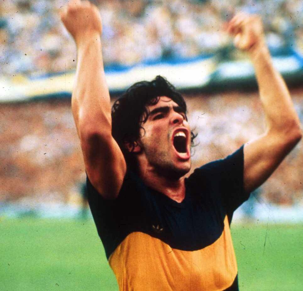 Maradona con la camiseta de Boca Juniors