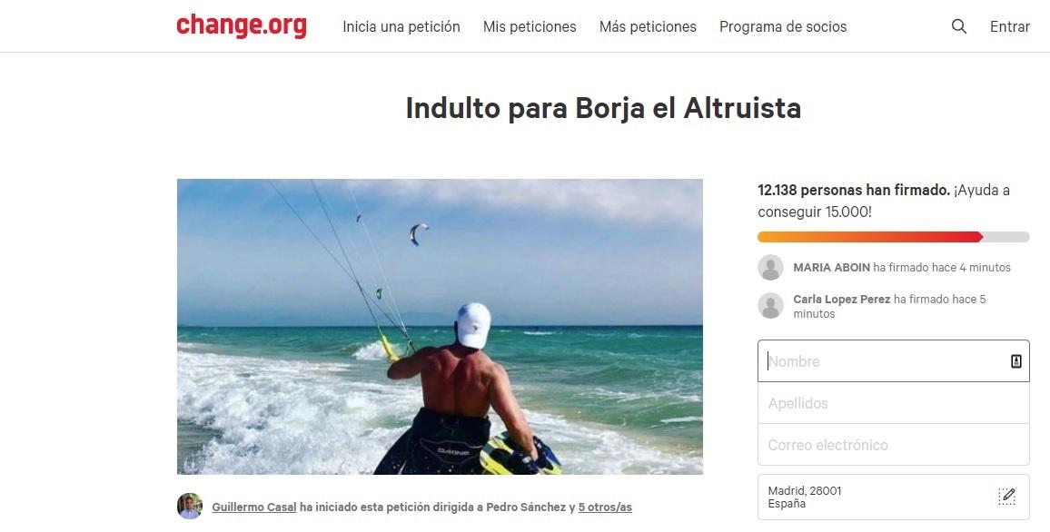 Imagen de la petición de indulto para Borja.