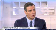 Pedro Sánchez durante la entrevista en Telecinco.