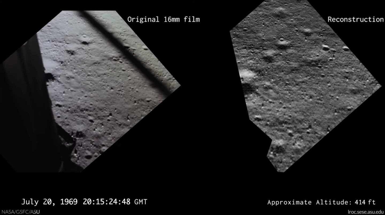 La imagen real y la reconstrucción de lo que veía Buzz Aldrin mientras aterrizaba en la luna | NASA