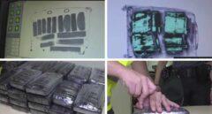 Imágenes de la droga interceptada en Barajas el 9 de agosto de 2018, incluidas en un reportaje emitido por Telemadrid.