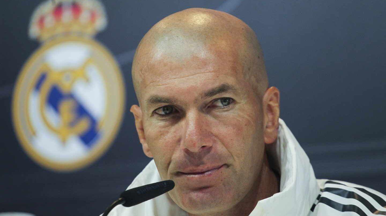 El entrenador del Real Madrid, Zinedine Zidane, durante una rueda de prensa