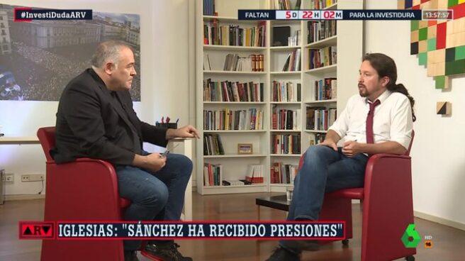 Pablo Iglesias, entrevistado por Antonio García Ferreras en Al Rojo Vivo.