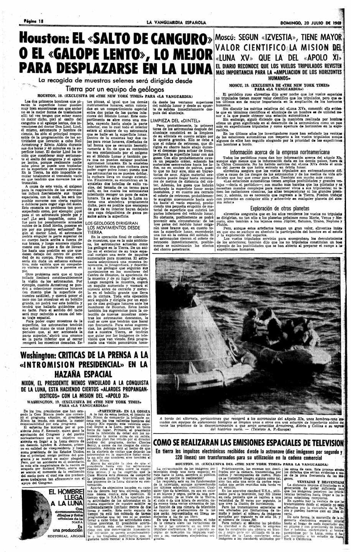 La Vanguardia, 20 de julio 1969, página 18 | Biblioteca Nacional