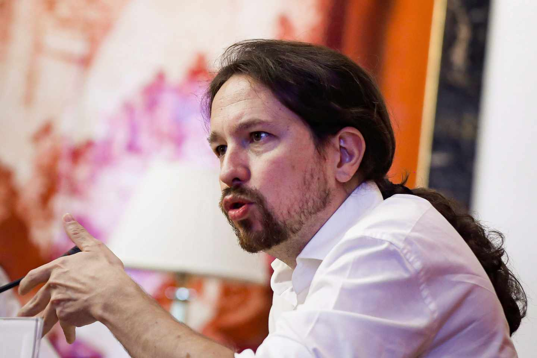 El líder de Podemos, Pablo Iglesias, en el Congreso de los Diputados,