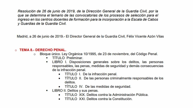 Resolución por la que se regula el nuevo temario para los procesos selectivos en la Guardia Civil.