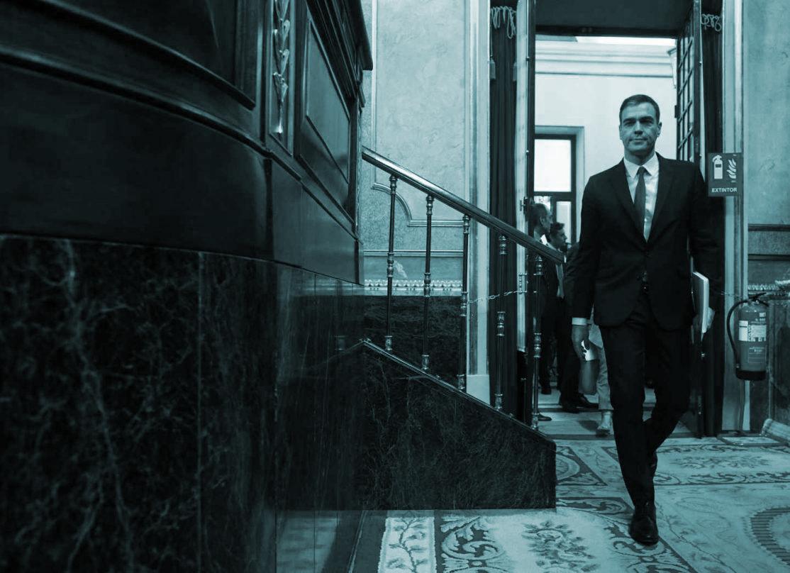 Pedro Sánchez, a su llegada al Congreso de Diputados.