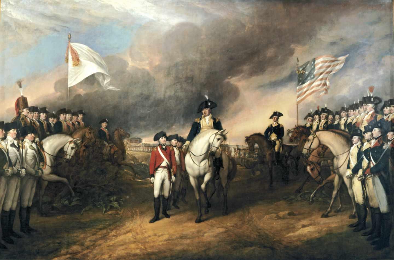 Rendición de los ingleses ante las tropas americanas y francesas en Yorktown.