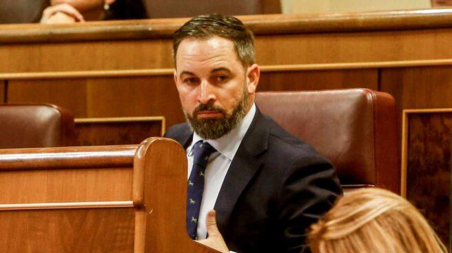 Santiago Abascal durante la sesión de investidura de Pedro Sánchez.